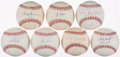 Baseball Collectibles:Balls, New York Yankees Greats Single Signed Baseballs Lot of 7....