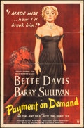 "Movie Posters:Drama, Payment on Demand (RKO, 1951). One Sheet (27"" X 41""). Drama.. ..."
