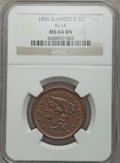 Large Cents, 1856 1C Slanted 5, N-14, R.1, MS64 Brown NGC. PCGS Population (4/0)....