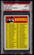 Baseball Cards:Singles (1970-Now), 1970 Topps Checklist, Red Bat #244 PSA Mint 9....