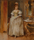 Fine Art - Painting, American:Antique  (Pre 1900), Edward Percy Moran (American, 1862-1935). Portrait of an ElegantLady, 1888. Oil on canvas. 8-1/2 x 7-1/2 inches (21.6 x...