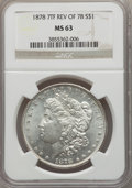 Morgan Dollars: , 1878 7TF $1 Reverse of 1878 MS63 NGC. NGC Census: (4921/4062). PCGS Population (4566/3269). Mintage: 4,900,000. Numismedia ...