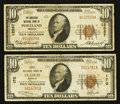National Bank Notes:Missouri, Saint Louis, MO - $10 1929 Ty. 1 First NB Ch. # 170;. Portland, OR- $10 1929 Ty. 1 The American NB Ch. # 12557... (Total: 2 notes)