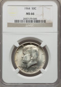 Kennedy Half Dollars: , 1964 50C MS66 NGC. NGC Census: (744/44). PCGS Population (1158/35).Mintage: 273,300,000. Numismedia Wsl. Price for problem...