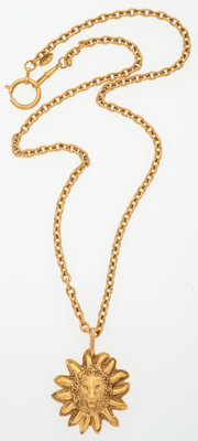 """Chanel Gold Lion Necklace Very Good to Excellent Condition 29"""" Length"""