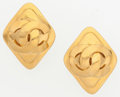 """Luxury Accessories:Accessories, Chanel Gold Diamond Shaped CC Earrings . Very Good Condition. 1.5"""" Width x 1.5"""" Length . ..."""