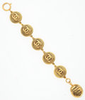 "Luxury Accessories:Accessories, Chanel Gold CC Bracelet . Good Condition . 7.5""Length . ..."