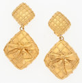 "Luxury Accessories:Accessories, Chanel Gold Bow Earrings . Very Good to Excellent Condition. 2.5"" Length . ..."