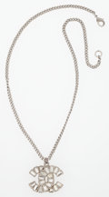 "Luxury Accessories:Accessories, Chanel Silver & Clear Crystal CC Necklace . Very Good toExcellent Condition . 16"" Length . ..."
