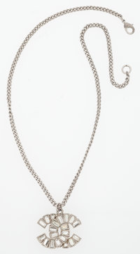 """Chanel Silver & Clear Crystal CC Necklace Very Good to Excellent Condition 16"""" Length <"""