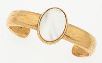 """Chanel Gold & Glass Pearl Bangle Bracelet Good Condition .5"""" Width x 5.5"""" Length"""