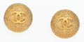"Luxury Accessories:Accessories, Chanel Gold Textured CC Earrings . Good Condition . 1""Width x 1"" Length . ..."
