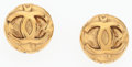 "Luxury Accessories:Accessories, Chanel Gold Round CC Earrings . Very Good to ExcellentCondition . 1"" Width x 1"" Length . ..."