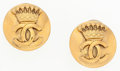 """Luxury Accessories:Accessories, Chanel Gold CC Crown Earrings . Very Good to ExcellentCondition . 1"""" Width x 1"""" Length . ..."""