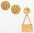 "Luxury Accessories:Accessories, Chanel Set of Two; Gold Quilted CC Earrings & Flap Bag Brooch.Very Good Condition. Earrings: 1"" Width x 1"" Length...."