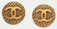 "Chanel Gold Round CC Earrings Good to Very Good Condition 1"" Width x 1"" Length"