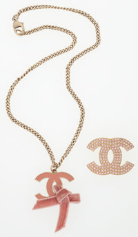 Chanel Set of Two; Gold, Pink Enamel & Pink Crystal Brooch and Necklace with Velvet Ribbon Detail Very Good Con