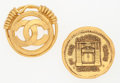 """Luxury Accessories:Accessories, Chanel Set of Two; Gold CC & Rue Cambon Medallion Brooches.Very Good Condition. 1.5"""" Width x 1.5"""" Length. ..."""