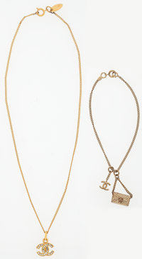 Chanel Set of Two; Gold & Crystal CC Necklace and Flap Bag Charm Bracelet Very Good Condition Nec