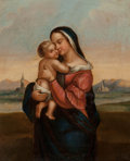 Fine Art - Painting, European:Antique  (Pre 1900), Manner of Raphael (19th Century). Madonna and Child. Oil on canvas. 10 x 8-1/2 inches (25.4 x 21.6 cm). ...