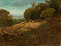 WILLIAM KEITH (American, 1839-1911) Afternoon in Napa Valley Oil on canvas 21 x 28 inches (53.3 x