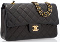 "Luxury Accessories:Bags, Chanel Black Quilted Lambskin Leather Medium Double Flap Bag withGold Hardware. Good to Very Good Condition. 10""Widt..."