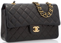 Chanel Black Quilted Lambskin Leather Medium Double Flap Bag with Gold Hardware Good to Very Good Condition