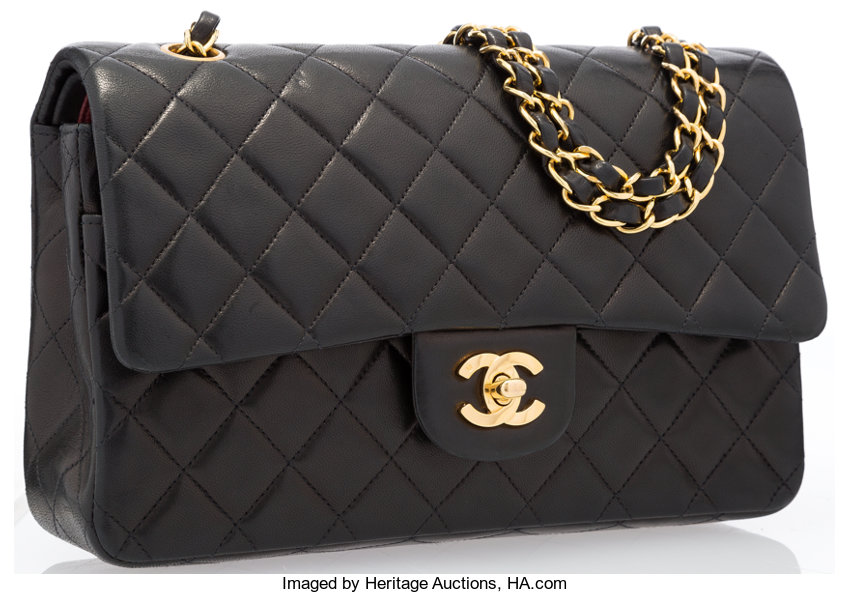 0cb47155fb9e ... Luxury Accessories:Bags, Chanel Black Quilted Lambskin Leather Medium  Double Flap Bag withGold Hardware ...