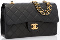 """Luxury Accessories:Bags, Chanel Black Quilted Lambskin Leather Medium Double Flap Bag with Gold Hardware. Very Good Condition. 9"""" Width x 5"""" He..."""