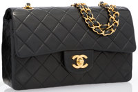 Chanel Black Quilted Lambskin Leather Medium Double Flap Bag with Gold Hardware Very Good Condition