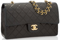 Chanel Black Quilted Lambskin Leather Medium Double Flap Bag with Gold Hardware Very Good to Excellent Conditio