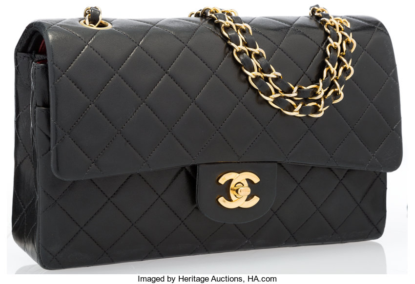 cfae1054ea91 ... Luxury Accessories:Bags, Chanel Black Quilted Lambskin Leather Medium  Double Flap Bag withGold Hardware ...