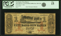 New Haven, CT - City Bank of New Haven $1 July 1, 1865 CT-265 G12c. PCGS Fine 15