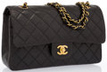 "Luxury Accessories:Bags, Chanel Black Quilted Lambskin Leather Medium Double Flap Bag withGold Hardware. Very Good Condition . 10"" Width x 6""..."