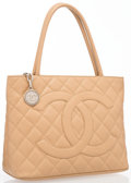 """Luxury Accessories:Bags, Chanel Beige Quilted Caviar Leather Medallion Tote Bag with SilverHardware. Good to Very Good Condition. 11.5"""" Width..."""