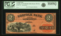 Obsoletes By State:Connecticut, Norfolk, CT - Norfolk Bank $2 18__ CT-330 G4a Remainder. PCGS Choice About New 55PPQ.. ...