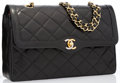 "Luxury Accessories:Bags, Chanel Black Quilted Lambskin Leather Double Flap Bag with Silver& Gold Hardware. Good to Very Good Condition. 11""Wi..."