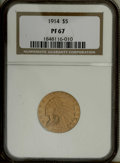 Proof Indian Half Eagles: , 1914 $5 PR67 NGC. The Philadelphia Mint was far from averse to tinkering with the appearance of proof gold coinage during t...