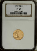 "Proof Indian Quarter Eagles: , 1909 $2 1/2 PR67 NGC. The 1909 and 1910 quarter eagle proofs werestruck in the so-called ""Roman gold"" finish, a lighter an..."