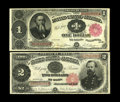 Fr. 351 $1 1891 Treasury Note Fine-VF Fr. 358 $2 1891 Treasury Note Fine. Here are a pair of solid Coin Notes for the...