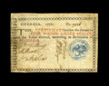 Colonial Notes:Georgia, Georgia 1776 $4 Fine-Very Fine. A note with very well inkedsignatures and a vibrant blue seal that is embossed to the back....