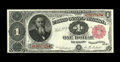 Fr. 349 $1 1890 Treasury Note Very Fine. The few folds that account for the grade are lessened as the paper is a touch f...