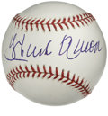 Autographs:Baseballs, Hank Aaron Single Signed Baseball. Gigantic sweet spot signatureranks among the largest we've ever seen from Aaron. The r...