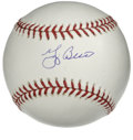Autographs:Baseballs, Yogi Berra Single Signed Baseball. Hall of Fame catcher Yogi Berrahas applied a picture-perfect blue ink stroke to the swe...