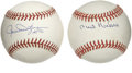 Autographs:Baseballs, Phil Niekro and Rollie Fingers Single Signed Baseball Lot of 2.Each Hall of Fame ace represented here has left the officia...