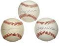 Autographs:Baseballs, Baseball Hall of Famers Single Signed Baseballs Lot of 3. Yetanother fantastic trio of HOFer signed singles. Sweet Swingi...