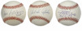 Autographs:Baseballs, San Francisco Giants Hall of Famers Single Baseballs Lot of 3.Three fine sweet spot sigs courtesy of this triumvirate of S...