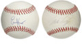 Autographs:Baseballs, Mike Piazza and Eric Karros Single Signed Baseballs Lot of 2. Theseex-Los Angeles Dodgers teammates each contribute a swee...