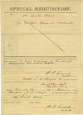 "Autographs:Inventors, Confederate General Albert Blanchard Signs a C.S.A. ""SpecialRequisition"" Document. On November 14, 1862, Blanchard requisit..."