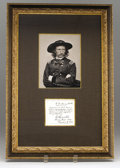 """Military & Patriotic:Civil War, General George A. Custer 1863 Autograph Note Signed """"G.A. Custer"""", one page, 3.5"""" x 3"""", framed and matted with a print o..."""